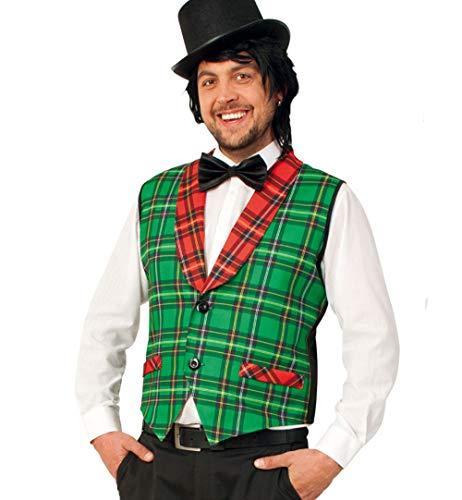 narrenwelt Herren-Weste Clown McCheck rot-grün (Varieté Zirkus Kostüme)