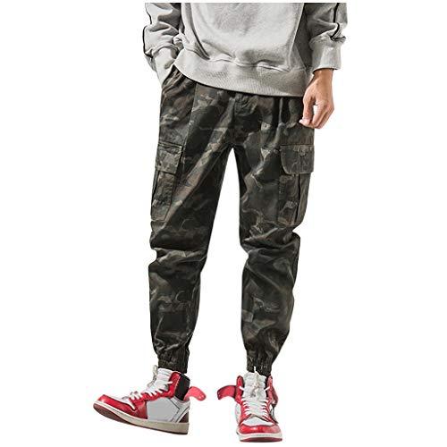 Herren Cargohose,ITISME Herren Hip Hop Hosen Streetwear Buckles Elastic Foot Multi Pocket LäSsige, Langsam Laufende Harajuku Cargo Hose Herren Hosen Sommer Hose Herbst Trainingshose Cargo Pants