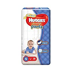 Huggies Ultra Soft Small Size Premium Diapers Pants for Boys (36 Counts)
