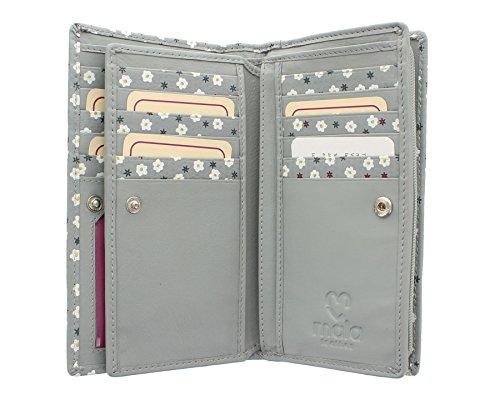 Pelle mala GINEPRO Collection borsa di cuoio / Portafoglio 3264_76 Navy grigio