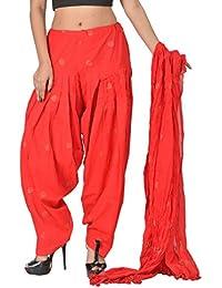 SHUBHI Women's Cotton Patiala Bottom & Chunni (Red, 42-50 Adjustable Fit)