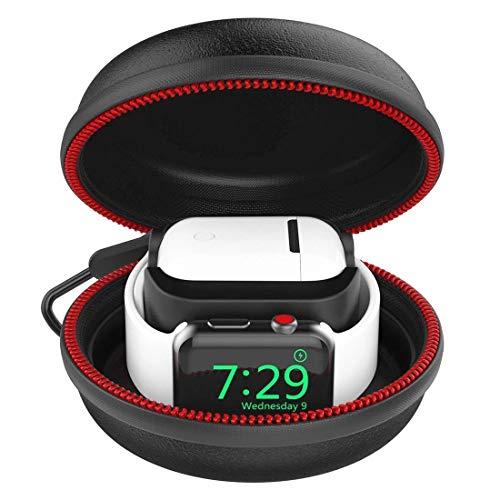 CFX Tragetasche für Apple Watch/AirPods Stand Ladestation Ladegerät Ständer unterstützt Tasche für Apple Airpods und Apple Watch Series 1, 2, 3, 4 Edition Zubehör (Schwarz)