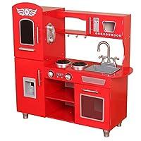Kiddi-Style Supreme Classic Retro Chefs XLarge Childrens Kids Pretend Play Toy Wooden Kitchen - Red