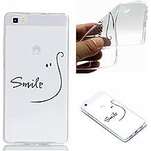 jhtc para Huawei P8Lite 20152016caso suave Flexible de Gel de silicona Tpu Ultra Thin Claro Transparente premium carcasa personalizada (Creative diseño azul Atrapasueños a prueba de golpes casos de protección con accesorios, TPU, Initials Smile, Huawei P8 Lite 2015 2016