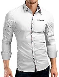 Grin&Bear Slim Fit Shirt Hemd Herrenhemd Kontrast Knopfleiste, SH528