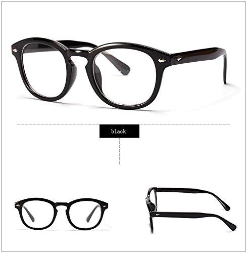 anizun (TM) Retro Designer Brille-Rahmen mit Klar Johnny Depp Gläser optischen Grad Rahmen Eyewear Oculos de grau 2038W, schwarz