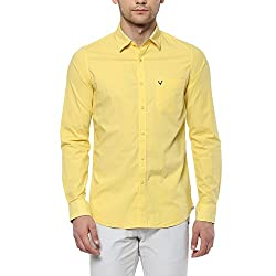 Allen Solly Mens Solid Slim Fit Casual Shirt (AMSF318G00271540_Yellow)