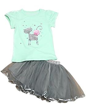 OverDose niñas conjunto de ropa de algodón suave para niñas manga corta camiseta + falda corta