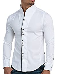 Hemd Slim Fit Herren Langarm Carisma Clubwear Hemden Shirt Polo Kosmo Japan Style Look Stehkragen