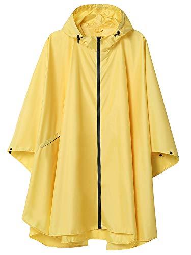 LINENLUX Regen Poncho Jacke Mantel für Erwachsene mit Kapuze wasserdicht mit Reißverschluss im Freien -