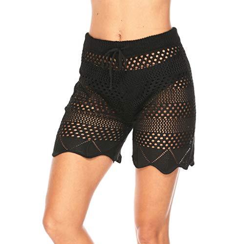 Tohole Damen Hosen Freizeithose Elegant High Waist Hose Culottes Hosenrock Bequem Elastische gestrickte Shorts aus europäischem und amerikanischem Urlaubswind mit Strandhose(Schwarz,XL)