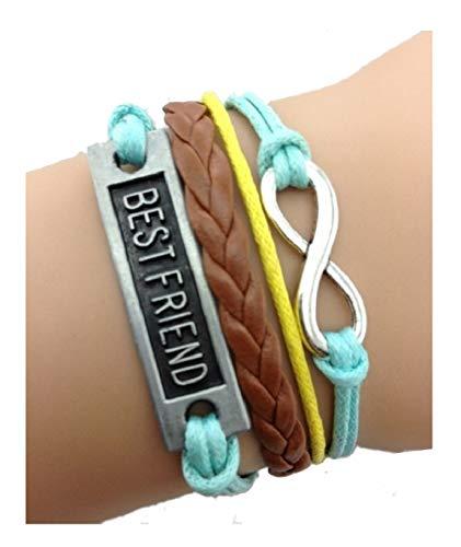Imagen de strass & paillettes lote de dos pulseras best friend blue brown y yellow con un enlace de plata infinito. regalo de mejor amigo alternativa