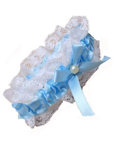 Blue ribbon and lace garter with Centre Pearl bead and ribbon bow. Lace Ribbon Hochzeit