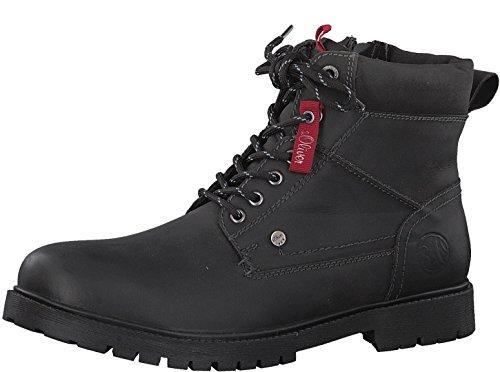 s.Oliver Herren Stiefel 15218-21,Männer Boots,Lederstiefel,Schnürstiefel,seitl. Reißverschluss,Black,EU 44