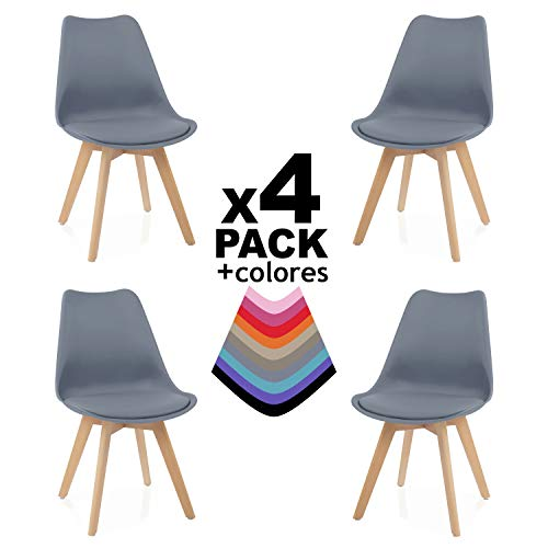 duehome - Beench - Pack 4 sillas Tower Madera Haya, sillas de...