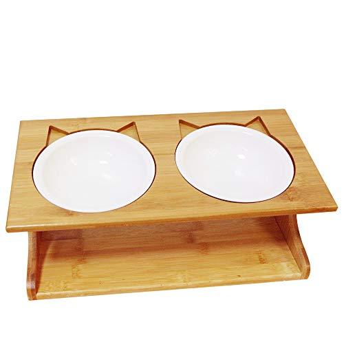 Petsoigné Katzennäpfe Hundenapf Hoch Katzenschüssel Set Keramik und Edelstahl mit Holzunterstützung Für Katzen Jeden Alters und Welpen (2 Näpfe, Keramik)