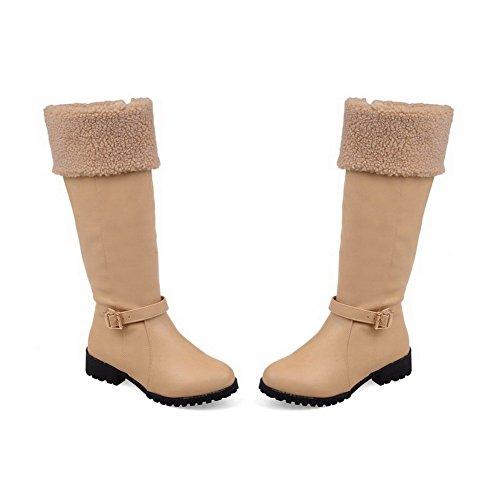 AllhqFashion Damen Niedriger Absatz Hoch-Spitze Reißverschluss Stiefel mit Schnalle Aprikosen Farbe