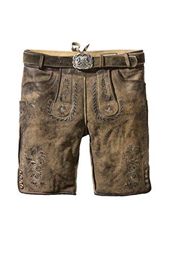 Stockerpoint - Herren Lederhose mit Gürtel, Stein Geäscht, Thomas, Größe:50;Farbe:Stein geäscht