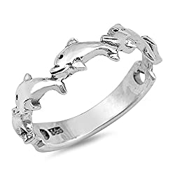 Dolphin Cute Girls Ring (Sizes 2 3 4 5 6 7 8 9) New .925 Sterling Silver Toe Band Rings by Sac Silver (Size 7)