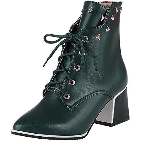 VogueZone009 Donna Allacciare Tacco Medio Luccichio Puro Bassa Altezza Stivali