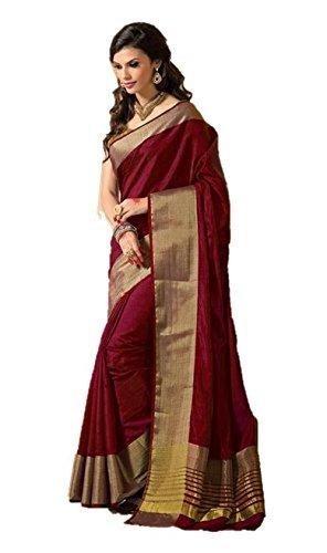 Birami Ethnics Women's Cotton Silk Saree With Blouse Piece (Bf144Red_Red)