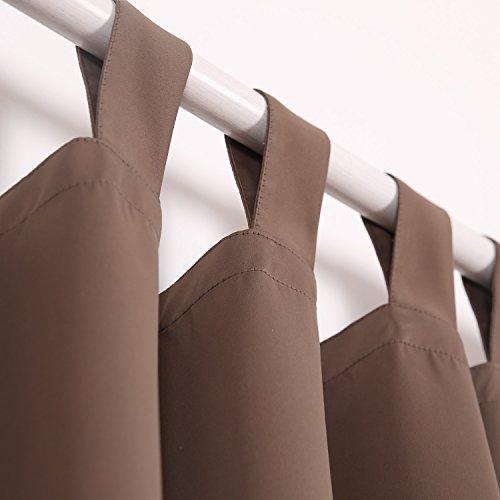 Deconovo Verdunkelungsvorhang Schlaufen Gardinen Schlafzimmer Vorhang Blickdicht Schlaufen 175×140 cm Braun - 2