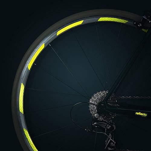 reflecto Neon Reflektoren-Aufkleber für Fahrradfelgen in gelb oder orange - 24 Streifen im Set - optimal für 27,5″ 28″ und 29″ Felgen - hochwertige Sticker aus Qualitäts-Reflexfolie (fluor-Lime)