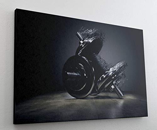 Fitness Hantel Training Sport Leinwand Bild Wandbild Kunstdruck L0618 Größe 100 cm x 70 cm