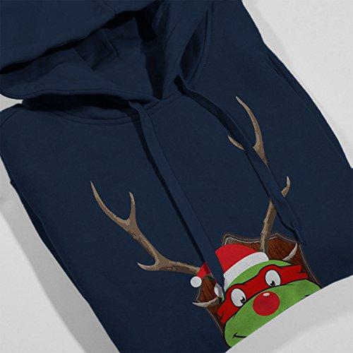 TMNT Raphael Christmas Antler Head Women's Hooded Sweatshirt Navy blue