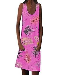 Abito Donna Vestito Elegante alla Moda con Stampa Floreale alla Zuava e  Tasche b7e360166c9