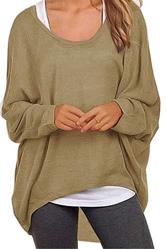 Meyison Damen Lose Asymmetrisch Sweatshirt Pullover Bluse Oberteile Oversized Tops T-Shirt Braun S