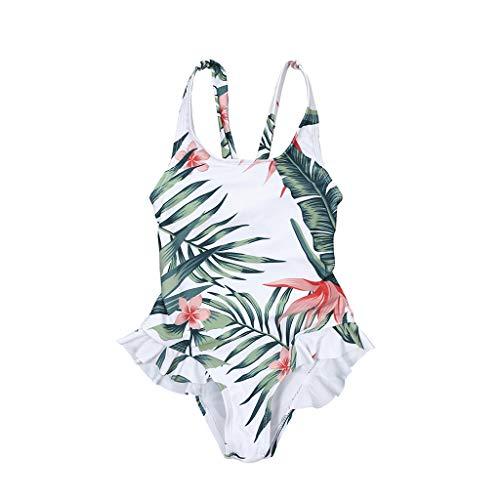nden Sommer Bikini böhmischen tropischen Blätter floral bedruckten Badeanzug Mama Papa Mädchen Jungen Shorts Rüschen Patchwork Beachwear 4 Größen - Mädchen - S ()