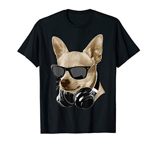 Cooler Chihuahua Mit Sonnenbrille Und Kopfhörern T-Shirt - Chihuahua-schwarzes T-shirt