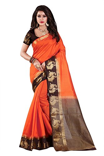 Nirja Creation Silk Cotton Saree With Blouse Piece (Nc-Od-Dblepeckok-9_Orange_Free Size)