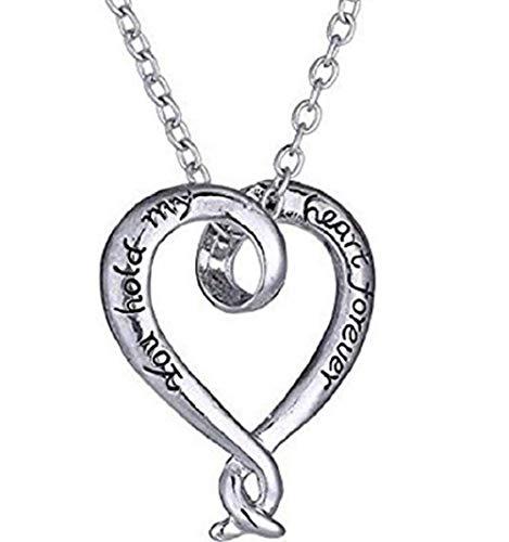 Inception Pro Infinite Halskette mit herzförmigem Anhänger mit geschriebenem Herz für Immer halten Mein Herz ist für Immer Valentinstag Geschenkidee für Jungen, Mädchen und Männer