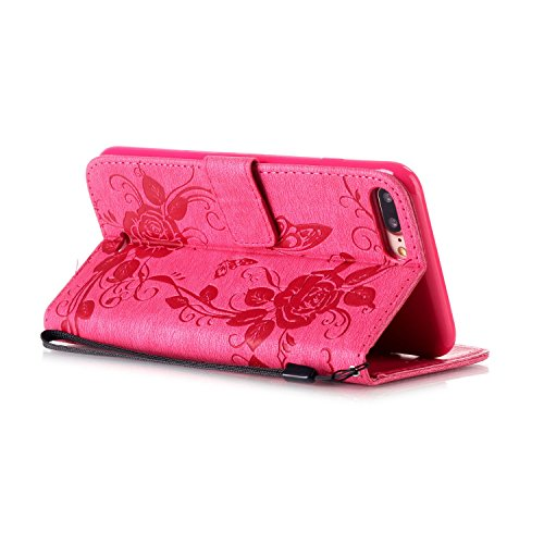 iPhone Case Cover IPhone 7 plus cas, étui décor strass en relief fleurs papillon étui en cuir PU étui portefeuille avec sangle pour iPhone 7 plus ( Color : Dark Blue , Size : Iphone 7 Plus ) Rose Red