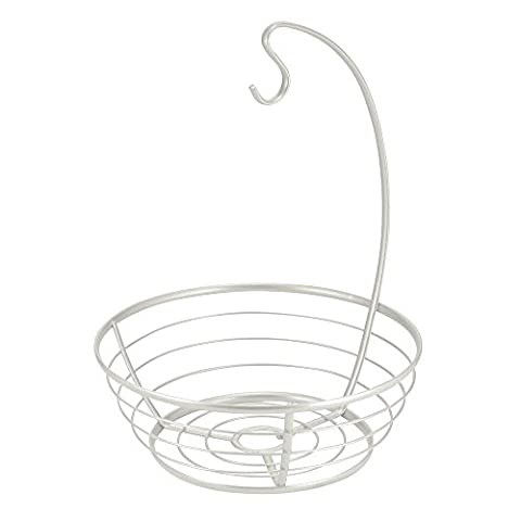 InterDesign Fruit Bowl with Banana Hanger for Kitchen Countertop, Pearl White