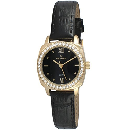 Peugeot Women Gold Crystal Bezel Round Black Leather Strap Watch