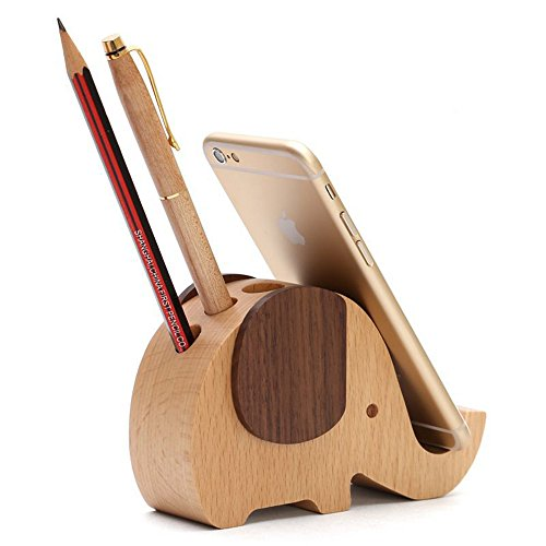 Singeru 2-in-1 Elefanten Stifthalter & Handy Halter Holz Elefant Büro Schreibtisch Organizer Bürobedarf Aufbewahrungsbox Tablette Ständer 13 x 5 x 8 cm -