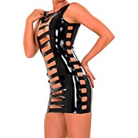 EXLATEX Womens lattice di gomma mini vestito nero con davanti