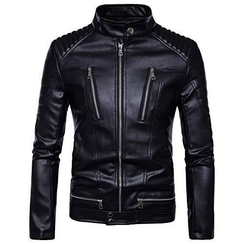 nihiug Motorradjacken Für Männer Wasserdichtes Leder Sport Wasserdicht Heavy Duty Mantel Punk Herren Multi-Kette,Black-XL (Für Mäntel Aus Mann Leder Den)