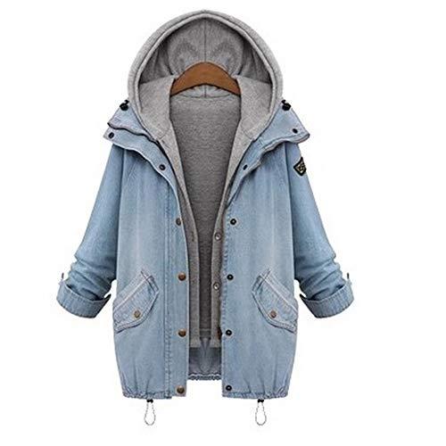 AOTUO Damen Langarm Jeansmantel Baumwolle Fashion Casual Lange Ärmel mit Hut Denim Slim Fit Jacke Winter Frühling, blau, XXXXXXL Lange Ärmel Denim Jacke