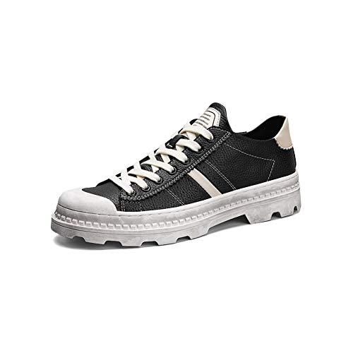 FF Retro Male Shoes Chaussures de Travail Big Shoes Low Aide Martin Boots Chaussures Noires (Couleur : Noir, Size : EU39/UK6/CN39)