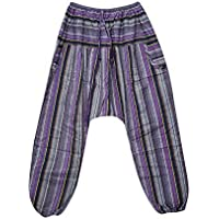 Women Baggy Trousers Purple Retro Boho Cotton Gypsy Pants OneSize