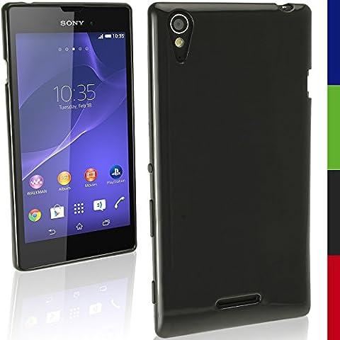 igadgitz Sólido Negro Funda Brillo TPU Gel Para Sony Xperia T3 D5102 + Protector Pantalla