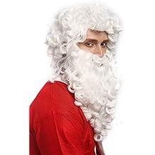 WIG ME UP ® - 01-A + B-P60 Peluca y Barba: Santa Claus Papá Noel Nicolás profeta dios blanco