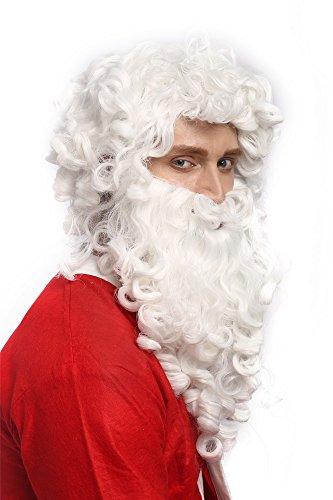 Bart Der Weiße (WIG ME UP - 01-A+B-P60 Perücke Bart Set Weihnachtsmann Santa Claus Nikolaus Ruprecht Prophet Gott)