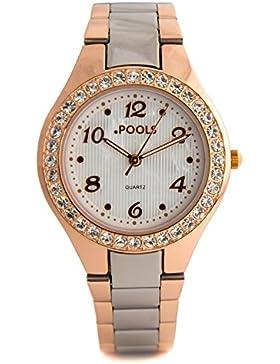 Baciami .POOLS 1268 Damen-Armbanduhr, Metall-Armband, Silber Rose Gold, feminin modern glitzernd zeitlos flach