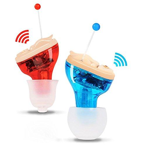 Mini Invisible Schwerhörigenapparat Hearing Aid Gerät Hilfsmittel Hörgerät Hörverstärker mit Tragebügel (Hörgerätset mit 901A Batterien + Aufsätzen) , Couple