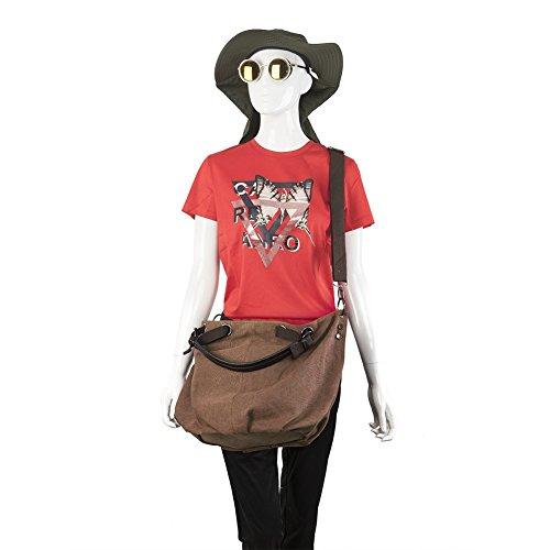 CloSoul Direct Borsa da Donna a Spalla, Borsa Donna di Tela, Tracolla da Donna per Uso di Lavoro, Spesa, Viaggio Casual. ( Cachi ) marrone